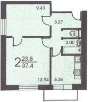II-18 серия - жилые дома - Планировка двухкомнатной квартиры А ( серия II 18 )