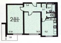 п-3 (жилые дома серии п3) - Планировка двухкомнатной квартиры  ( серия П3 )