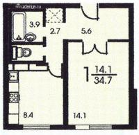 п-3 (жилые дома серии п3) - Планировка однокомнатной квартиры  ( серия П3)