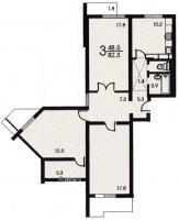п-3 (жилые дома серии п3) - Планировка четырёхкомнатной квартиры