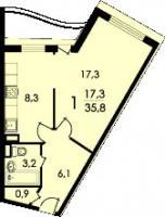 дома серии Колос - Планировка однокомнатной квартиры  ( серия Колосс )