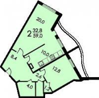 дома серии Колос - Планировка двухкомнатной квартиры  ( серия Колосс )