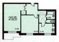 серия II 57 - Планировка двухкомнатной квартиры  ( серия зданий II 57 )