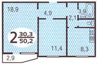 Дома серии П44, планировки квартир с размерами - планировка  двухкомнатной квартиры в доме серии п44