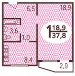 Дома серии П44, планировки квартир с размерами - Планировка однокомнатной квартиры  ( серия п44 )