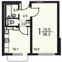 Дома серии КОПЭ, планировки с размерами - Планировка однокомнатной квартиры серии копэ