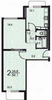 Дома серии КОПЭ, планировки с размерами - Планировка двухкомнатной квартиры А (серия КОПЭ)