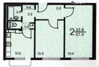 Дома серии КОПЭ, планировки с размерами - Планировка двухкомнатной квартиры B ( серия зданий копэ )