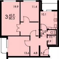 Дома серии КОПЭ, планировки с размерами - Планировка трёхкомнатной квартиры А (серия КОПЭ)