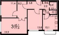 Дома серии КОПЭ, планировки с размерами - Планировка трёхкомнатной квартиры B (серия КОПЭ)