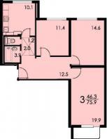Дома серии КОПЭ, планировки с размерами - Планировка трёхкомнатной квартиры С ( серия копэ )