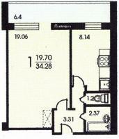 Башня Вулыха - Планировка однокомнатной квартиры  ( башня вулыха )