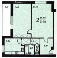 Башня Вулыха - Планировка двухкомнатной квартиры  ( башня Вулыха )