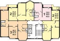 П44ТМ - Планировка квартир секции  типа 1-2 типовой серии жилого дома серии п 44 тм