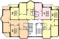 П 44 ТМ - Планировка квартир секции  типа 1-3, 1э-3 типовой серии жилого дома серии п 44 тм