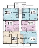Москворецкая башня - Планировка жилой секции (квартир) в доме серии  Тишинская башня