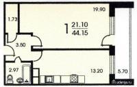Москворецкая башня - Смирновская башня - планировка однокомнатной квартиры B