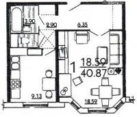 дома серии п3м-1/16 - планировка однокомнатной квартиры в жилом доме серии П3Мш