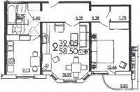 дома серии п3м-1/16 - Планировка двухкомнатной квартиры в жилом доме серии П3Мш