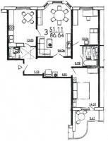дома серии п3м-1/16 - Планировка трёхкомнатной квартиры в жилом доме серии П3Мш
