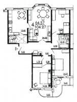 дома серии п3м-1/16 - планировка четырёхкомнатной квартиры в жилом доме серии П3Мш