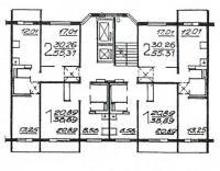 П46М - Планировка жилой секции в доме серии п46м - однокомнатные и двухкомнатные квартиры