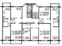 П46М - Планировка жилой секции в доме серии п46м  3-2-2