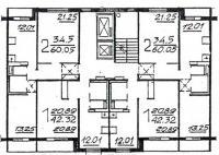 П46М - Планировка жилой секции в доме серии п46м 1-1-2-2