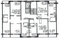 П46М - Планировка жилой секции в доме серии п46м 1-2-4