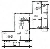 П46М - Планировка жилой секции в доме серии п46м 3-3