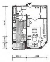 п55м - планировка однокомнатной квартиры в жилом доме серии п55м