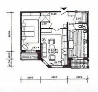 п55м - планировка двухкомнатной квартиры  в жилом доме серии п55 м