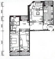 п55м - планировка трёхкомнатной квартиры в жилом доме серии п55м