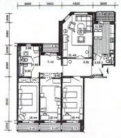 п55м - планировка четырёхкомнатной квартиры в жилом доме серии п55 м