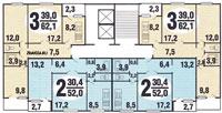 п30 серии домов - Планировка двухкомнатной  и трёхкомнатной квартиры жилом доме серии п 30