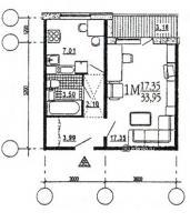 дома эко (М6-ЭКО) - Однокомнатная квартира, B  [однокомнатные квартиры домов серии эко ]