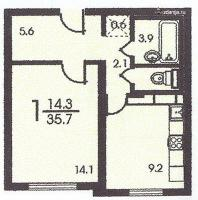 п3м - серии домов - однокомнатная квартира планировка п3м