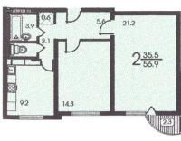 п3м - серии домов - планировка двухкомнатной квартиры в жилом доме серии п 3м