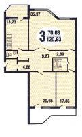Призма - планировка трёхкомнатной квартиры серии Призма