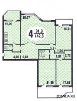 Призма - планировка четырёхкомнатной квартиры серии Призма