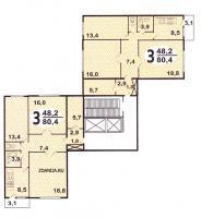 Дома серии п-46, п-47 - п46 планировка квартир жилой секции дома серии