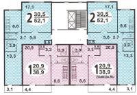 Дома серии п-46, п-47 - планировка жилой секции дома серии п46