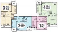 Бекерон - типовые планировки квартир в жилой секции дома серии бекерон
