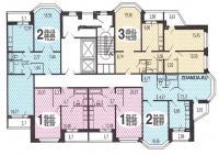 B-2002 - типовые планировки квартир в жилой секции дома серии В-2002