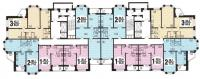 Серия И-7026 - типовые планировки квартир в жилой секции дома серии И-7026
