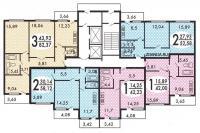МЭС-84 - типовые планировки квартир в жилой секции дома серии  мэс-84
