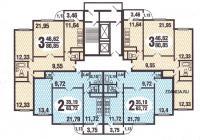 C222 ( дома серии С222) - типовые планировки квартир в жилой секции дома серии  С222