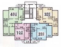 Дома серии С222 - типовые планировки квартир в жилой секции дома серии  С222