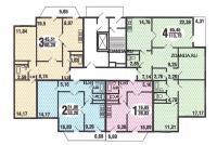 С220 - типовые планировки квартир в жилой секции дома серии  С220