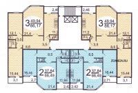 п55м - типовые планировки квартир в жилой секции дома серии п55м